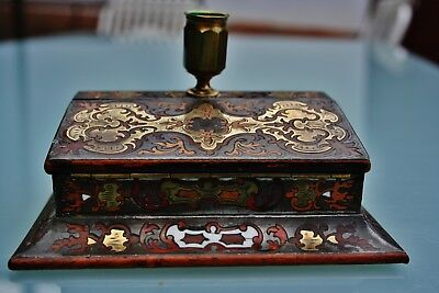 Antique Boulle Candle / Match Holder 19.c