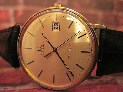 SERVICED!! mens solid 9ct 9k yellow Gold Omega Quartz with new battery