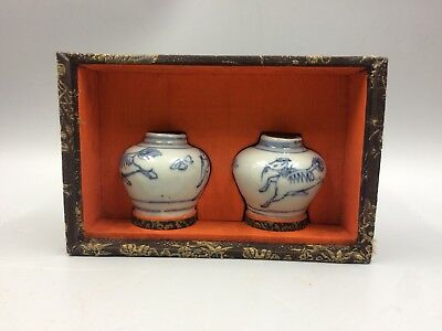 Chinese Antique Pair of Blue & White Jars With Presentation Box