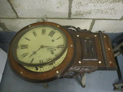 Vintage Wooden 8-Day Wall Clock c/w Chime & Key