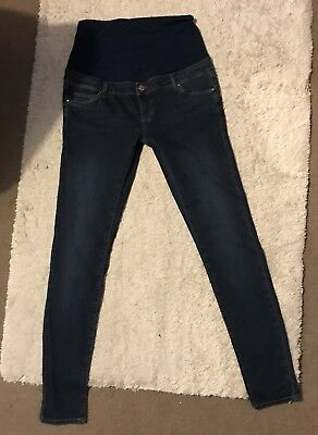 Topshop Women's Maternity Navy Leigh Blue Over Bump Skinny Jeans, 12 L36 TALL