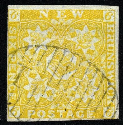 New Brunswick 1851 6d olive-yellow SG4 four margin clear grid cxl signed Diena