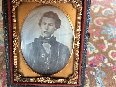 Daguerreotype photograph. One/9th plate of  A Young Man, 1850s.