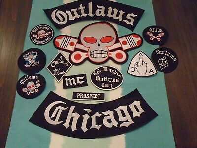Huge Chicago Outlw  Motorcycle Club Patch Set (13 pc)