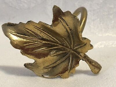 12 Brass Napkin Holders Leaf Shaped VTG