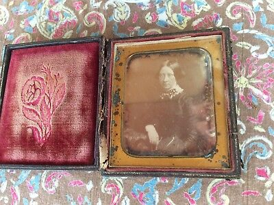 A Sixth-Plate Daguerreotype of a Middle-age Woman Sitting For Her Photo in 1850s