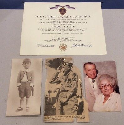 WWII US ARMY Purple Heart Award Certificate with ID Documentation