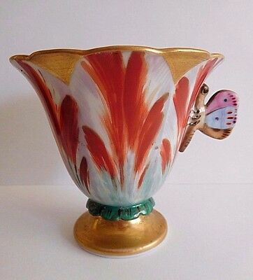 Mid 19Th Century French Porcelain Tulip Shaped Coffee Cup With Butterfly Handle