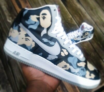CUSTOM BAPE NIKE Air force 1 high size 10.5 $130.00 | PicClick