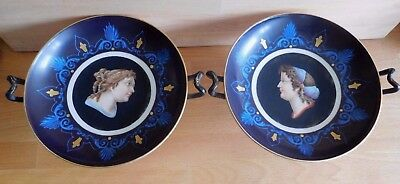 Pair Of Victorian French Paris Porcelain Low Comports Painted With Female Heads