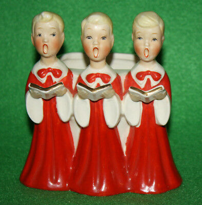 VINTAGE 1950's CHRISTMAS CHOIRBOYS FIGURINE PLANTER