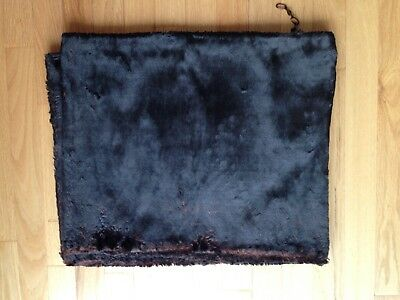 "Antique black fake fur stole. For doll clothes. 78"" long x 18"" wide"