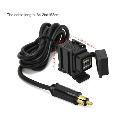 Rupse 12V Dual USB Charger Adapter+Powerlet Din Hella Socket for BMW Motorcycle