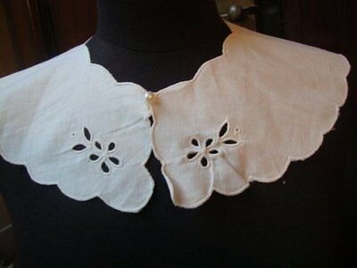 Vintage White Cotton Lace Dress Collar Neckline Insert Applique Cutwork Antique