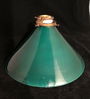 Vintage Emeralite Glass Student Bankers Lamp Shade Green Conical-Shaped