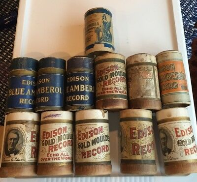 LOT OF 12 ANTIQUE MOULDED RECORD CYLINDERS Columbia Cover Only