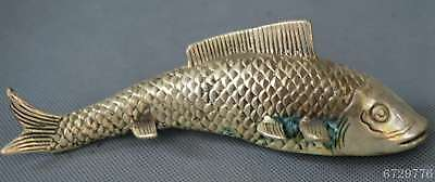 Chinese Collectable Handwork Old Miao SIlver Carve Goldfish Auspicious Statue