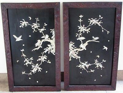 Pair Large Japanese Shibayama Mother Of Pearl Panels, Carved Wooden Frame