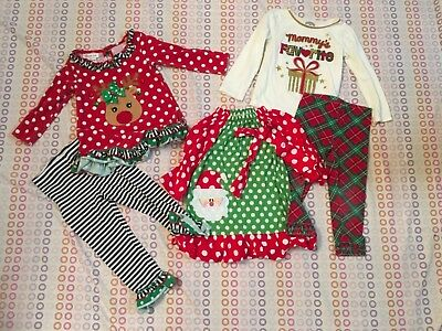 Lot of 3 Girls 3T Christmas Boutique Outfits