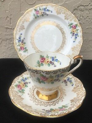 Royal Standard Lovely Trio Teacup Saucer Plate Gilded Roses 2307