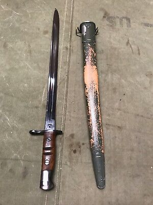 10V Wwi Us M1917 Eddystone, Winchester, Remington Rifle Bayo & Scabbard