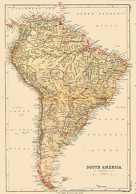 1878 Color Map of SOUTH AMERICA - Great Detail - Much Different Borders