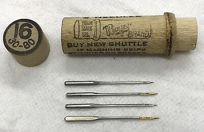 Vintage Boye Sewing Machine Needles (4)In Wooden Tube, Size16