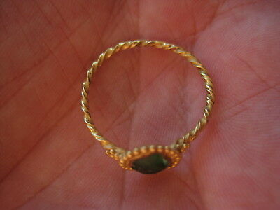 Antique and beautiful Roman Gold Ring, with green stone, I-III A.D