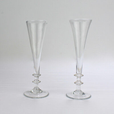 Near Pair of Antique 18th Century Georgian Period Glass Champagne Flutes - GL