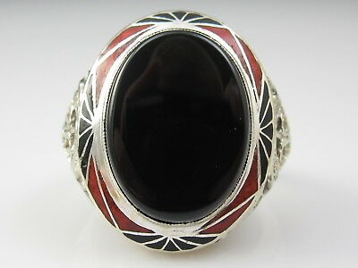 Vintage Art Deco Onyx Ring 14K White Gold Enamel Retro Antique Estate Filigree