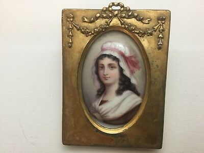 Antique porcelain Hand Painted Charlotte Corday gilt.