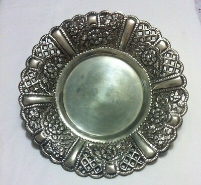 900 SILVER HAND CHASED PLATE (332 gm)