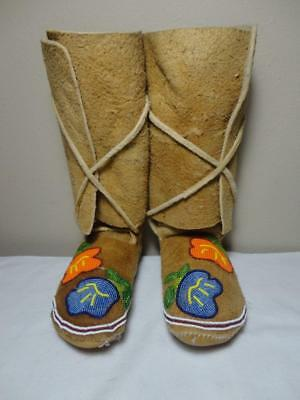 Vintage Hi-Top Leather American Native Beaded Leather Moccasins