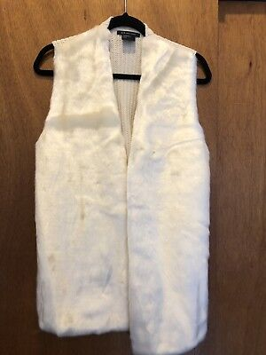 Womens Armani Exchange White Faux Fur Sweater Vest SizeM NWT