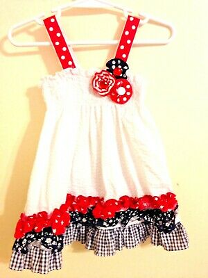 939e6dd91d RARE EDITIONS PATRIOTIC Dress Red White Blue Tassels Girl s Size 8 ...