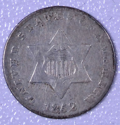 1852 3C Silver Three-Cent Piece - VF Cleaned