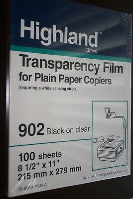 "NEW SEALED 902 HIGHLAND TRANSPARENCY FILM PLAIN PAPER COPIERS 100 8.5""x11""SHEETS"