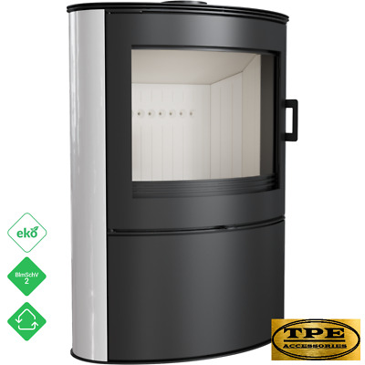 KOZA AB 2 white Tiles - Free Standing Curved Contemporary Wood burning Stove