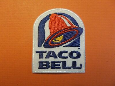 TACO BELL white & blue & red EMBRODIERED  IRON ON 2-3/8 X 3 PATCH