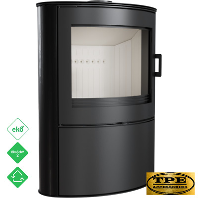 KOZA AB 2 Black Tiles - Free Standing Curved Contemporary Wood burning Stove