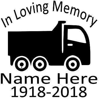 In Loving Memory Decal Custom Vinyl Personalized Sticker Semi Truck Big Rig