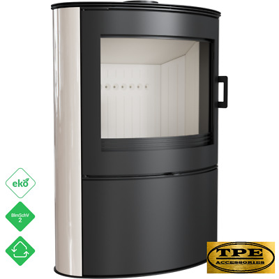 KOZA AB 2 Cream Tiles - Free Standing Curved Contemporary Wood burning Stove
