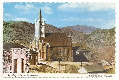 Vintage Postcard St. Mary's In The Mountains Virginia City, Nevada