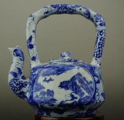 Chinese antique Blue and White porcelain Hand painted landscape teapot b02