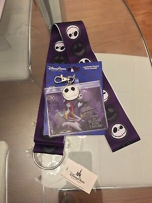 Disney Parks Lanyard Nightmare Before Christmas Jack Skellington W/ Pouch Charm