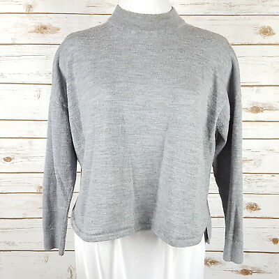 NWT Madewell Mock neck Relaxed  MOCK Fit Sweater Size S Heather Celeste Grey