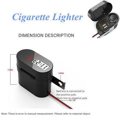 Motorcycle Handlebar Cigarette Lighter 2 Dual USB Charger Safety Waterproof Boat