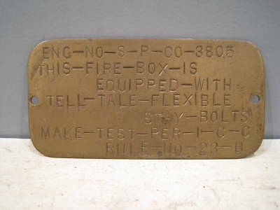 Southern Pacific locomotive boiler plate from engine 3805