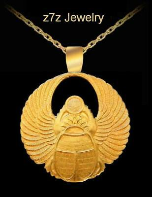 """WINGED SCARAB Necklace - 1 3/4"""" wings amulet beetle egypt ancient aliens z7qq"""