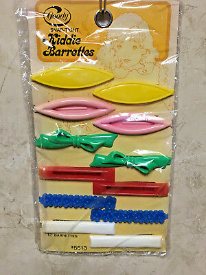 VTG Goody Plastic Snap Tight Kiddie~Childs Hair Barrettes Set of 12 New/Sealed
